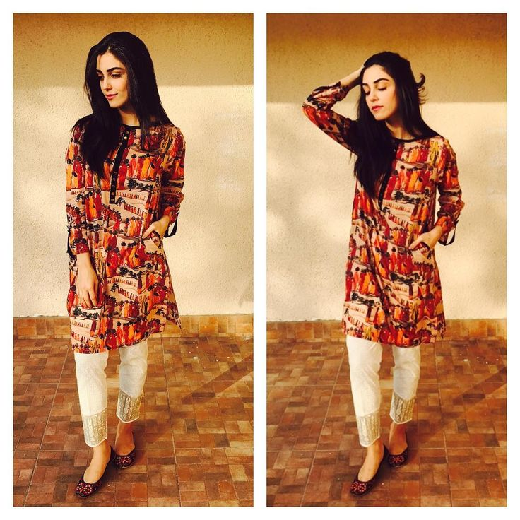 Printed kurti with cigarette pants