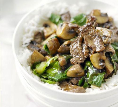Stirfry - Beef, mushroom and greens stirfry