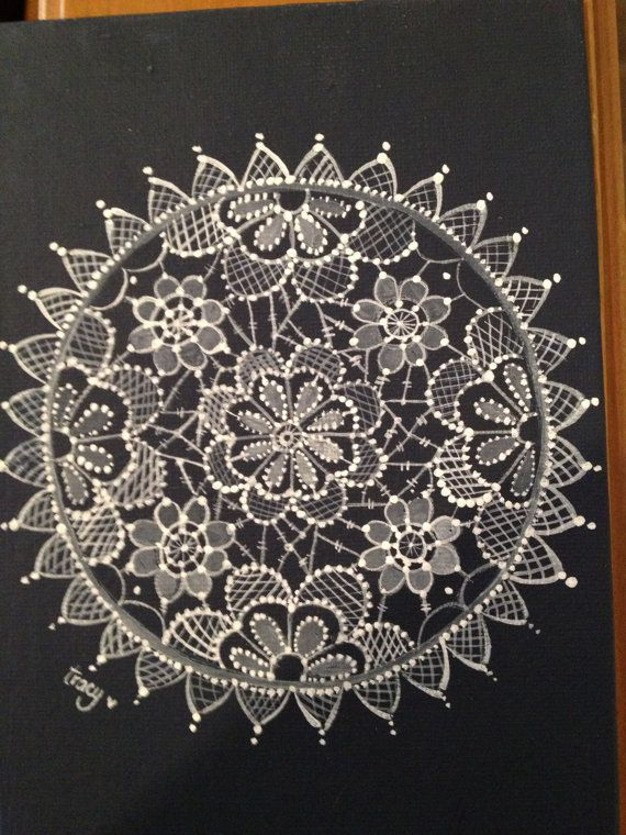 Hand painted lace in canvas by OlsenTrademarkCrafts on Etsy, $30.00