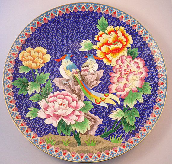 Cloisonne Charger Plate Tropical Birds and Flowers by LuckyDecade