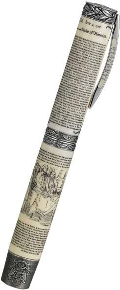 "Visconti Declaration Of Independence Fountain Pen Silver. (The entire document is ""written"" on the pen!)"