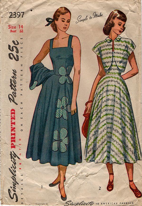 Simplicity 2397 - 1940s Vintage Sundress and Bolero Sewing Pattern