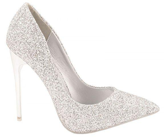 Elara Damen Pumps | Bequeme Glitzer High Heels | Party Hochzeit Größe 36, Farbe Silber