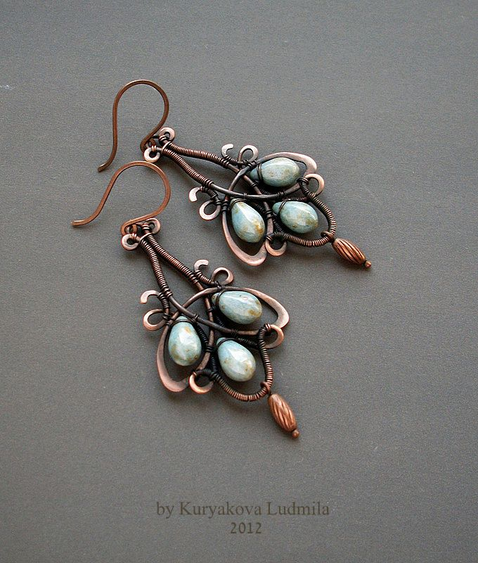 ANTIK copper earrings, glass beads, made by hand,  by KL-WireDream on DeviantArt