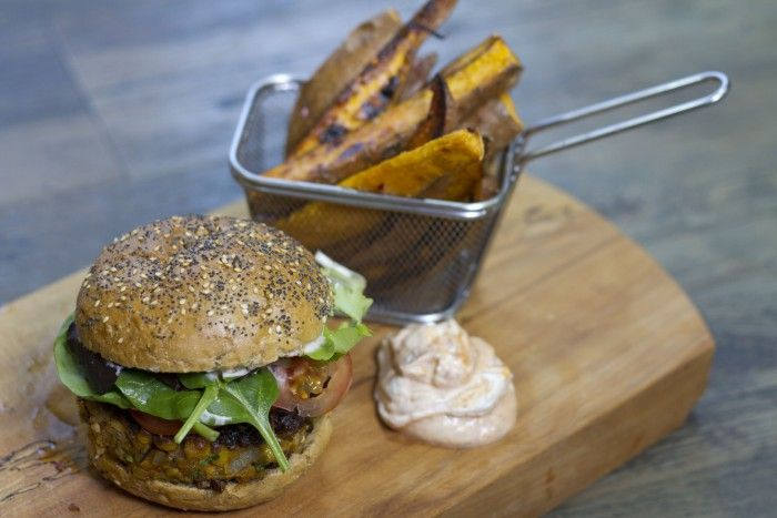 Mexican bean burger with smoky wedges
