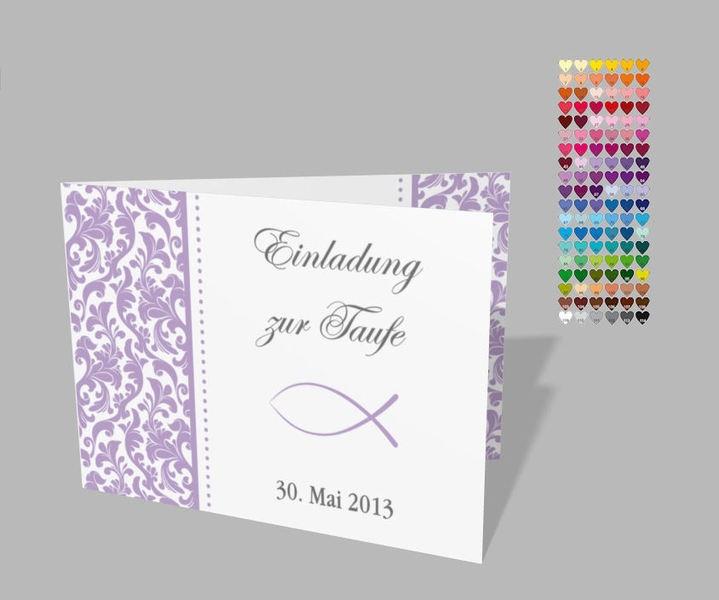 Einladungskarten Zur Taufe In Den Farbton Lila Mit Damastmuster Und Auf Der  Vorderseite Ist Ein Fisch