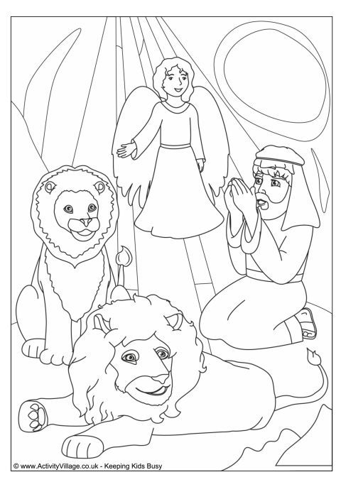 daniel in the lions u0026 39  den colouring page