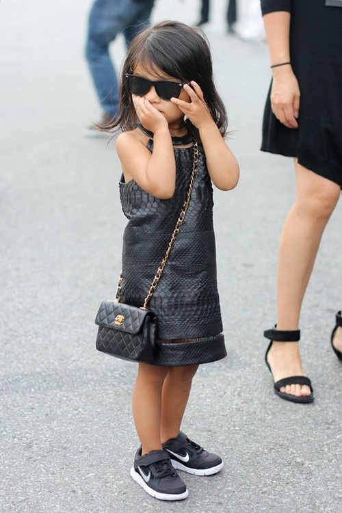 Chanel bag but keeping it real with her kicks. Aila Wang.: Girls, Style, Aila Wang, Kids Fashion, Alexander Wang, Baby, Kidsfashion, Nike