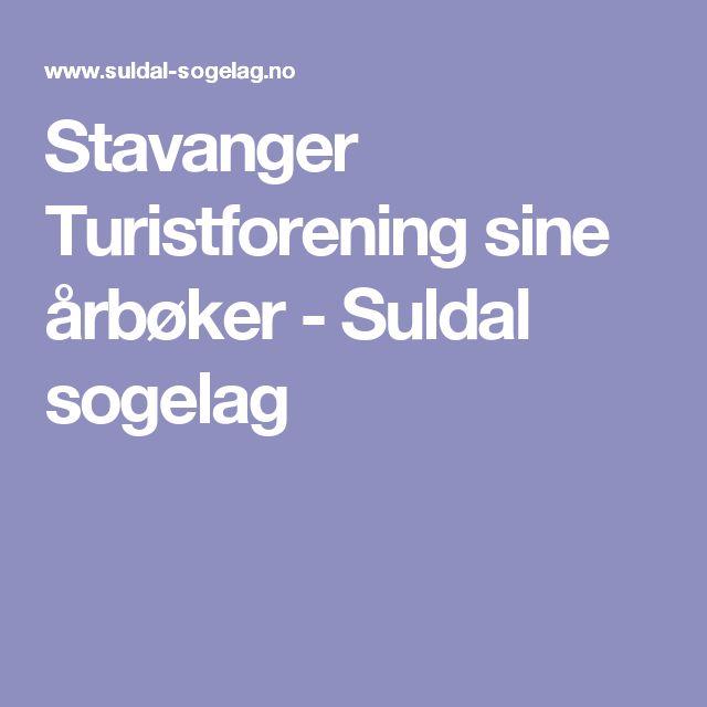 Stavanger Turistforening sine årbøker - Suldal sogelag