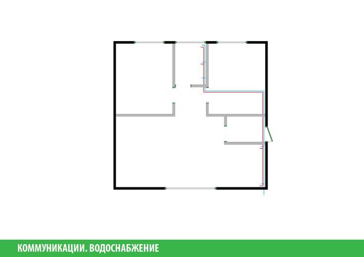 На данной схеме отображено расположение труб горячего и холодного водоснабжения.