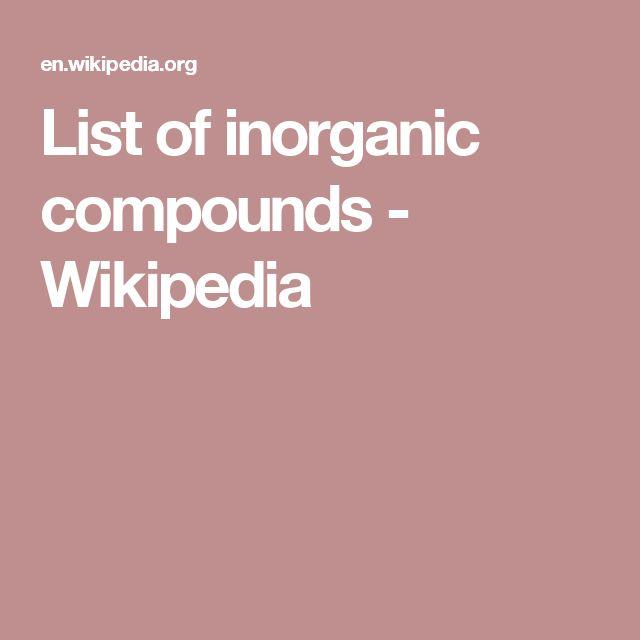 List of inorganic compounds - Wikipedia