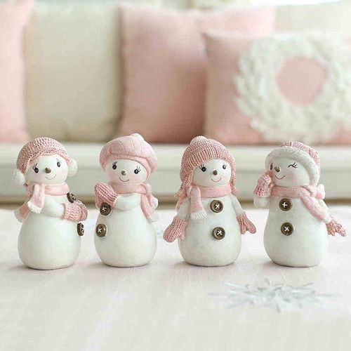 Adorable Pink And White Snow Girls