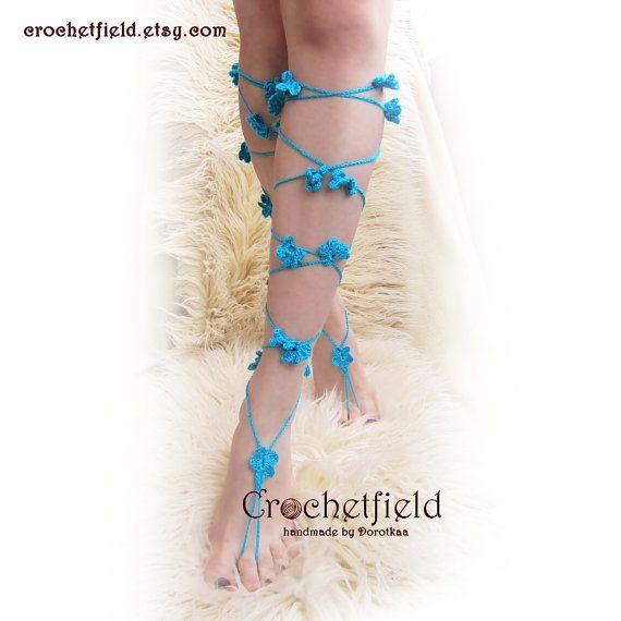 Sexy LACE UP flowers crochet barefoot sandals knee by Crochetfield