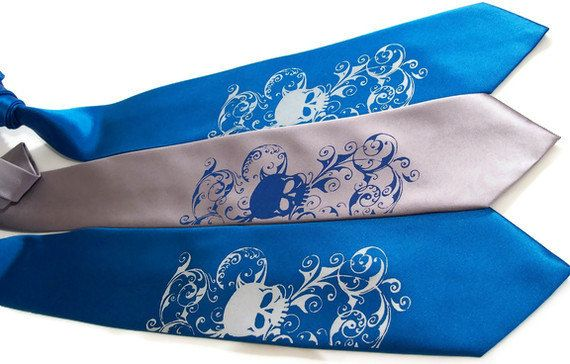 Wedding neckties, includes 5 men's skull ties - printed in your selected colors. $112.50, via Etsy.