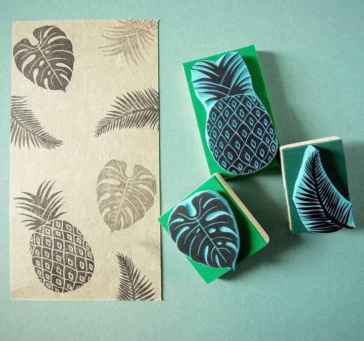 Tropische stempels, set van 3 stempels, hand carved stamps, handgemaakt, gemaakt in Spanje door CassaStamps op Etsy https://www.etsy.com/nl/listing/488980005/tropische-stempels-set-van-3-stempels
