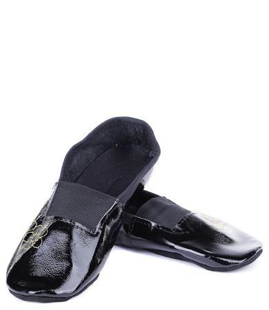Колибри Колибри, Чешки с вышивкой для девочки (черный лак с золотым букетом)  — 440р.
