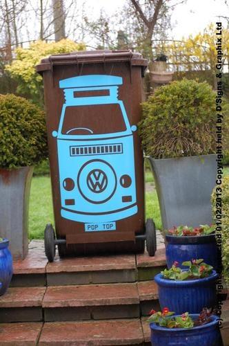 Pop Top VW Wheelie Bin Sticker With FREE Personalised Reg Plate!!