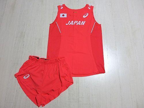 2015 世界陸上 女子 陸上(中・長距離走) 日本代表 尾西美咲 選手支給 実使用 ユニフォーム (ランシャツ&ランパン) 上下セット /リオ五輪_画像1