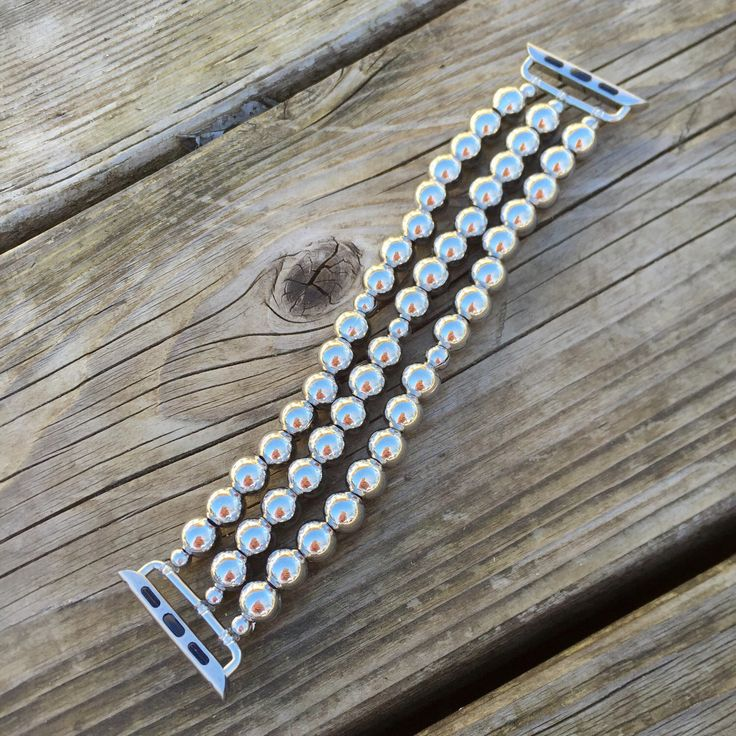 Silver Apple Watch Band Chrome Apple Watch Custom Apple Watch Band Stretch Fit Apple Watch Band Feminine Apple Watch Band Ladies Apple Watch by ArmCandyByHeather on Etsy https://www.etsy.com/listing/286246061/silver-apple-watch-band-chrome-apple