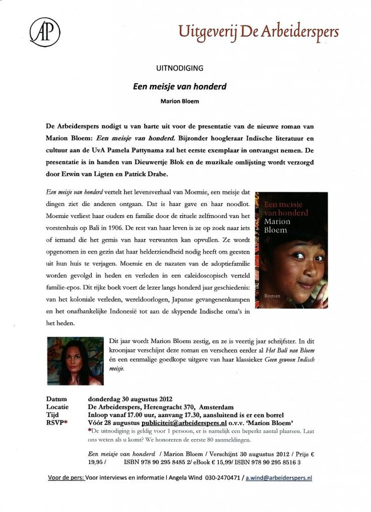 #Uitnodiging | Een meisje van honderd | #MarionBloem | #arbeiderspers | 30. 08. 2012