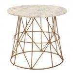 klein accent table 45x50cm – marble/copper