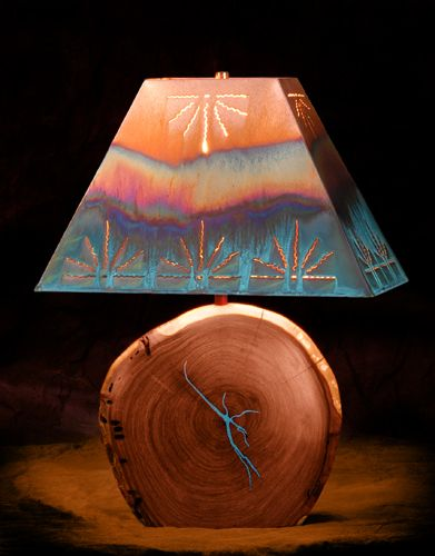 Mesquite with Turquoise Inlay - Click Image to Close