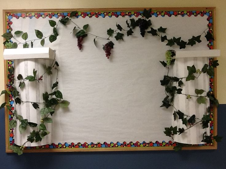 Ancient Rome/Greece bulletin board idea. The whole thing cost $14.50 at the dollar tree. 3 poster boards $0.50 each 8 vines $1.00 each 4 w/ grapes on it 4 w/o and finally 5 plastic grape bunches some red some green and some black $1.00 each. Not bad for a middle school teacher.
