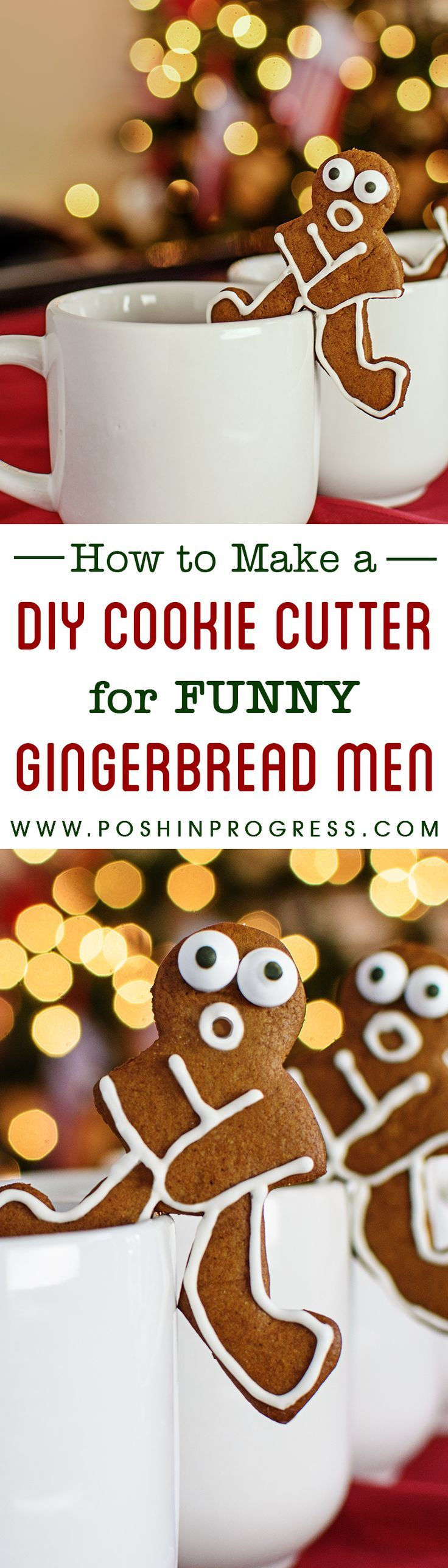 We decided to make mug hanger gingerbread man cookies this year for Christmas. We couldn't find the right cookie cutter so we made our own! It was pretty easy. #diy #gingerbread #christmas #cookies