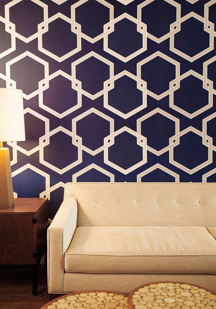 Oak Park Temporary Wallpaper in Blue - Variation, Blue, Dorm Decor, White, Print