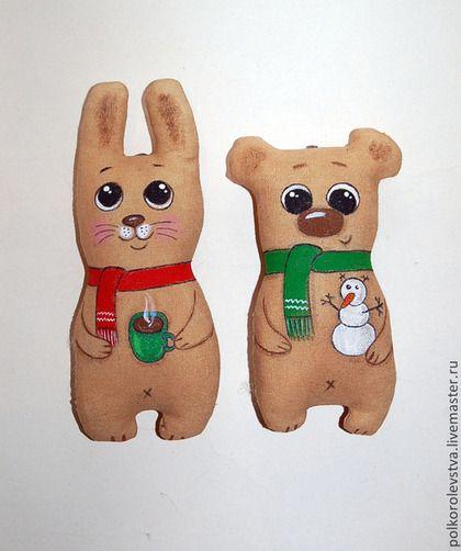 Ароматизированные куклы ручной работы. Ярмарка Мастеров - ручная работа Новогодние малыши (мишки+зайчик). Handmade.