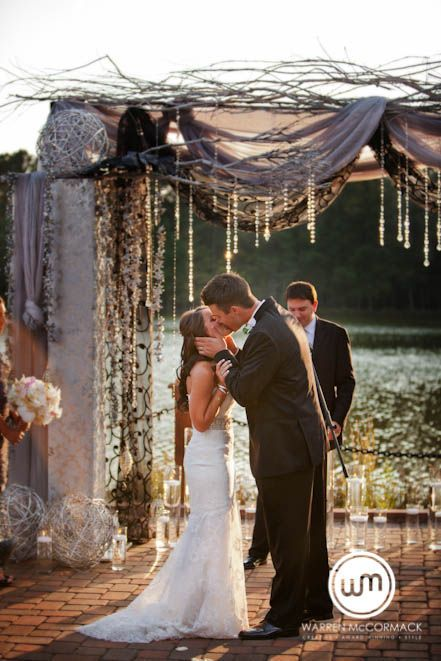 """Gorgeous """"golden hour"""" wedding ceremony. I love that arch way, mainly the crystals other than that it's a little too mess even for me. 