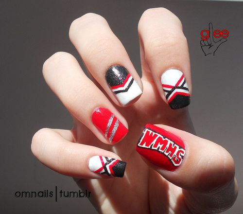 Cheerleader nail art only in orange and black :) homecoming i think yes!!!