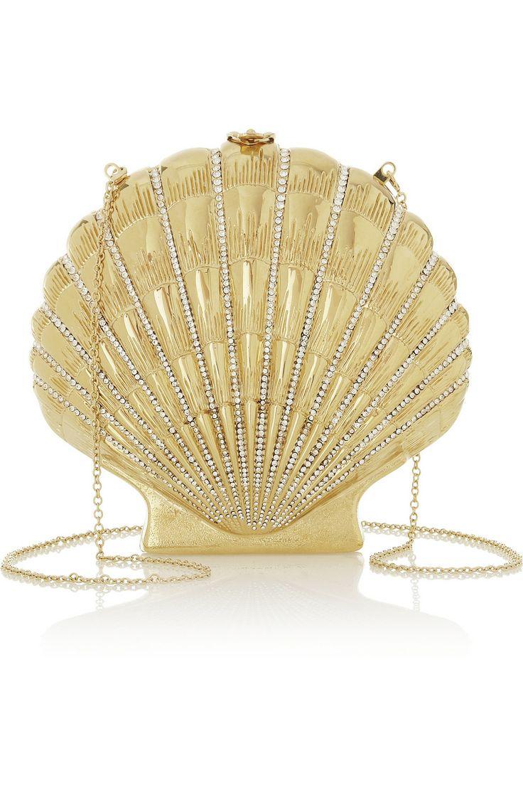 Charlotte Olympia|Shell Shocked gold-tone clutch|NET-A-PORTER.COM