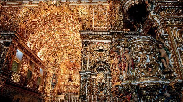 SAÕ FRANCISCO CHURCH, SALVADOR DA BAHIA, BRAZIL In the early 18th century, when Salvador da Bahia served as capital of Brazil, wealth from gold and diamond mines subsidized the building of four gilded Baroque churches on the Terreiro de Jesus, the colonial city's main square. Plan to visit the elaborately decorated Saõ Francisco Church on a Tuesday, when a music-driven street party follows the 6 P.M. mass.