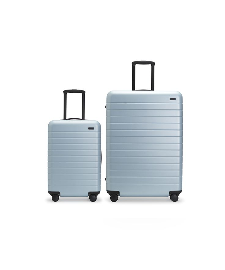 The Bigger Carry-On + Large Suitcase in Frost (color)  The perfect carry-on, sized up. Unbreakable, thoughtfully designed, and guaranteed for life. Made to fit the sizers of major US airlines, ideal for those flying on big planes and/or with extra outfits. <br /> <br />