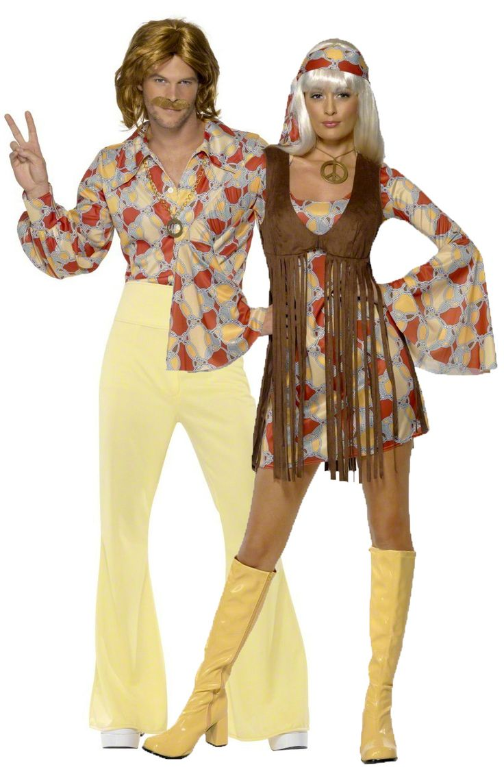 Disfraz de pareja de hippies de los años 60: Disfraz de hippie de los años 60 para mujer. Este disfraz de hippie para mujer se compone de un vestido de mangas largas amplias, un chaleco que se lleva por encima y un pañuelo que se...