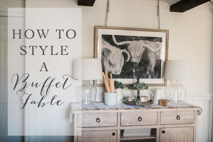"""How to Style a Buffet Table - Lynzy & Co. // Our Farmhouse decor featuring this amazing """"space cow"""" print!"""