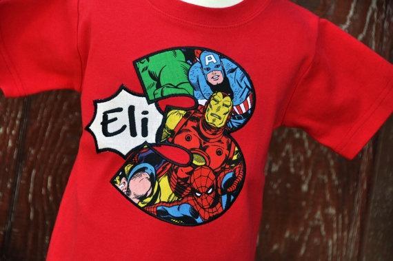 Personalized Superhero Kids Birthday Shirt by ...