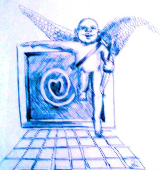 Ciber Cupido en técnica mixta