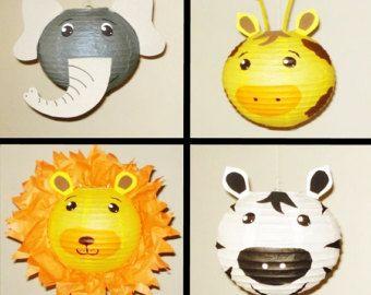 zèbre, Lion, éléphant et girafe.  Lanterne en papier. Décorations de fête Safari, Baby Shower, décor de salle, décor de crèche. Partie de la jungle.