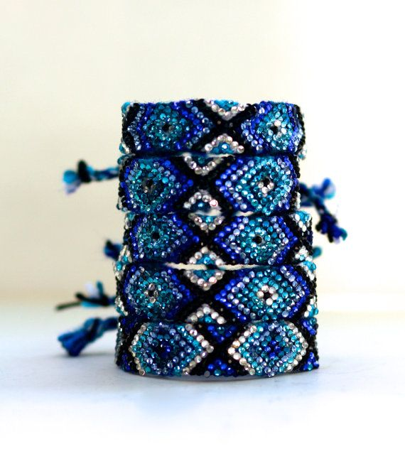 The Original Swarovski Crystal Friendship Bracelet- Blue Bell Design (Blue, Navy, Black & Silver)