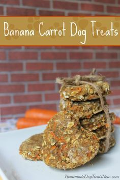 Banana Carrot Dog Treats -  1 cup Whole wheat flour 1 cup quick cook oatmeal 1 banana 2 carrots 2 Tbsp. coconut oil 1 Tbsp. brown sugar 1 Tbsp. parsley 1 whole egg