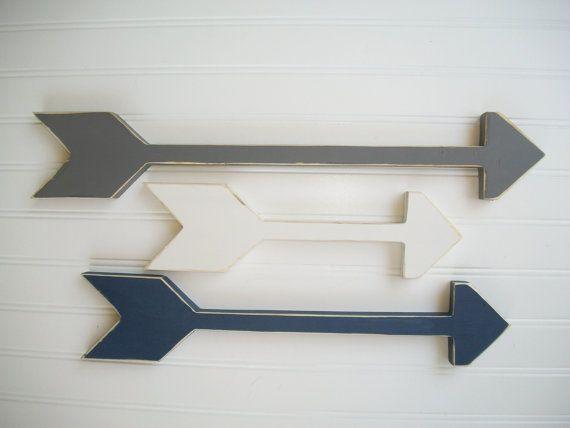 Set of Arrows . Nursery Arrows .Grey . Navy . by RessieLillian