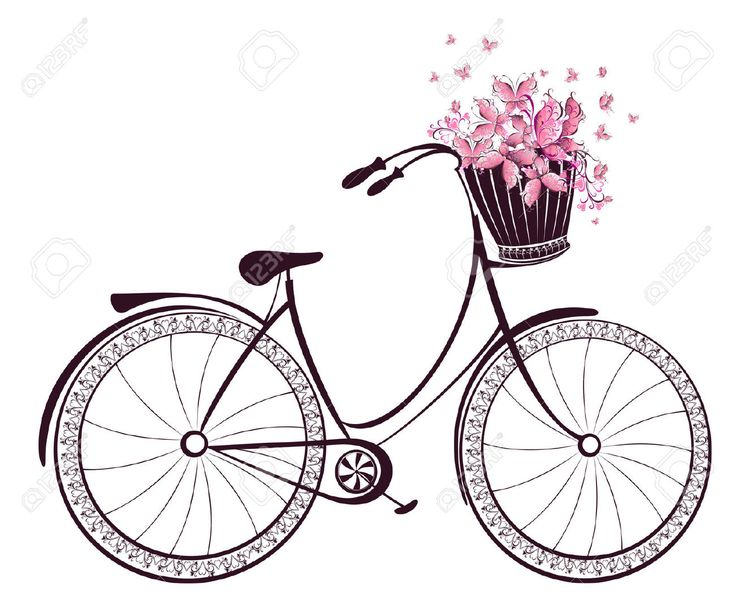 Bicycle With A Basket Full Of Flowers And Butterflies Royalty Free ...