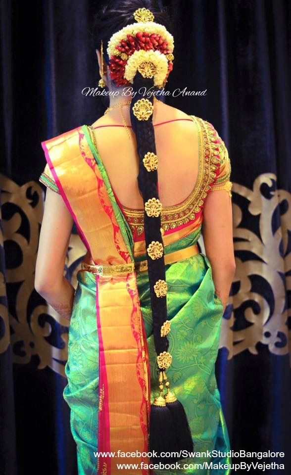 Would be Indian bride's bridal braid hair for her engagement. Hairstyle by Vejetha for Swank Studio. Silk Saree. Sari Blouse Design. Hair Accessories. Temple jewelry. Jhumkis. Silk Kanjeevaram sari. Braid with fresh flowers. Tamil bride. Telugu bride. Kannada bride. Hindu bride. Malayalee bride. Find us at https://www.facebook.com/SwankStudioBangalore
