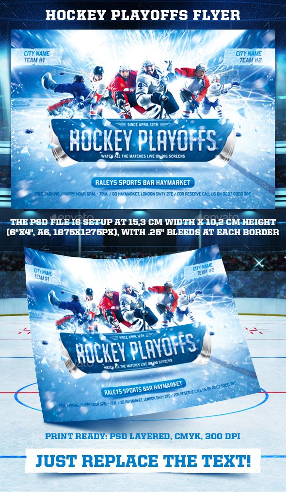 Hockey Playoffs #Flyer Template - Sports #Events Download here: https://graphicriver.net/item/hockey-playoffs-flyer-template/19519047?ref=alena994