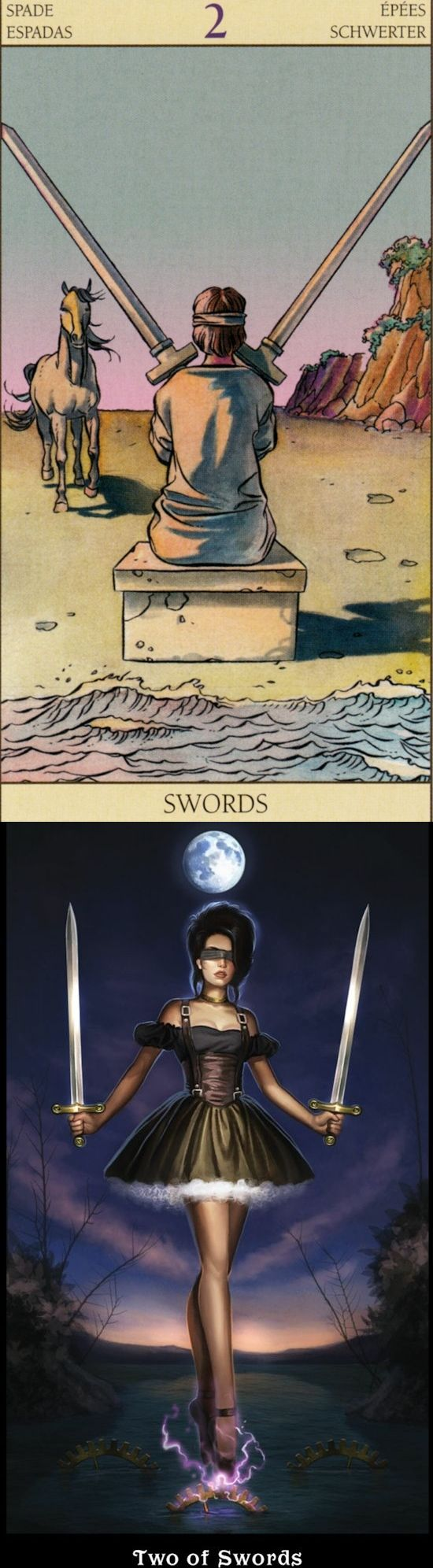 Two of Swords: stalemate and lesser of two evils (reverse). New Vision Tarot deck and Steampunk Tarot deck: free tarot card question, tarot cards and tarot prediction. The best magic the gathering and lenormand cards decks. #tarotart #pentacle #majorarcana