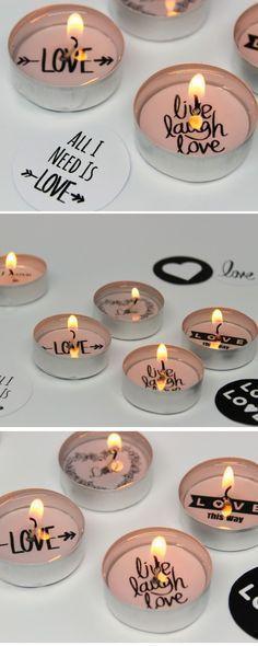 ♡♡♡ DIY: Süße Teelichter mit lieben Sprüchen selber machen {mit gratis Printable +Videoanleitung} / Das perfekte Geschenk zum Valentinstag ♡♡♡