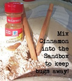 Now that its getting warmer, the kids are going to want to play in the sandbox. Cinnamon in the Sandbox keeps the bugs away. Mix some cinnamon with the sand and the sandbox will stay bug free!