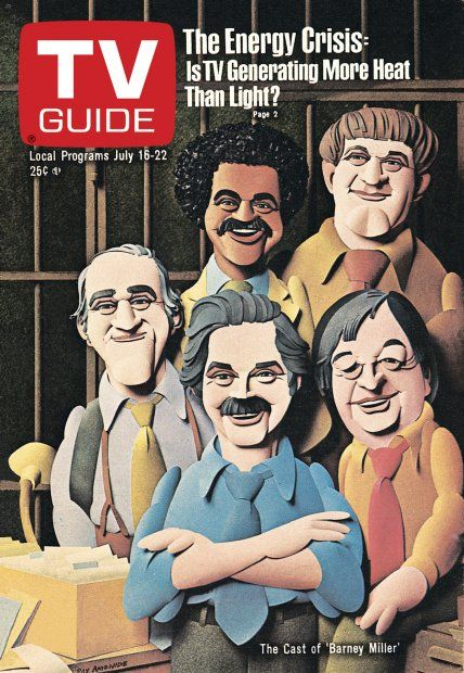 TV Guide July 16, 1977 - Ron Glass, Maxwell Gail, Abe Vigoda, Hal Linden and Jack Soo of Barney Miller. Illustration by Ray Ameijide.